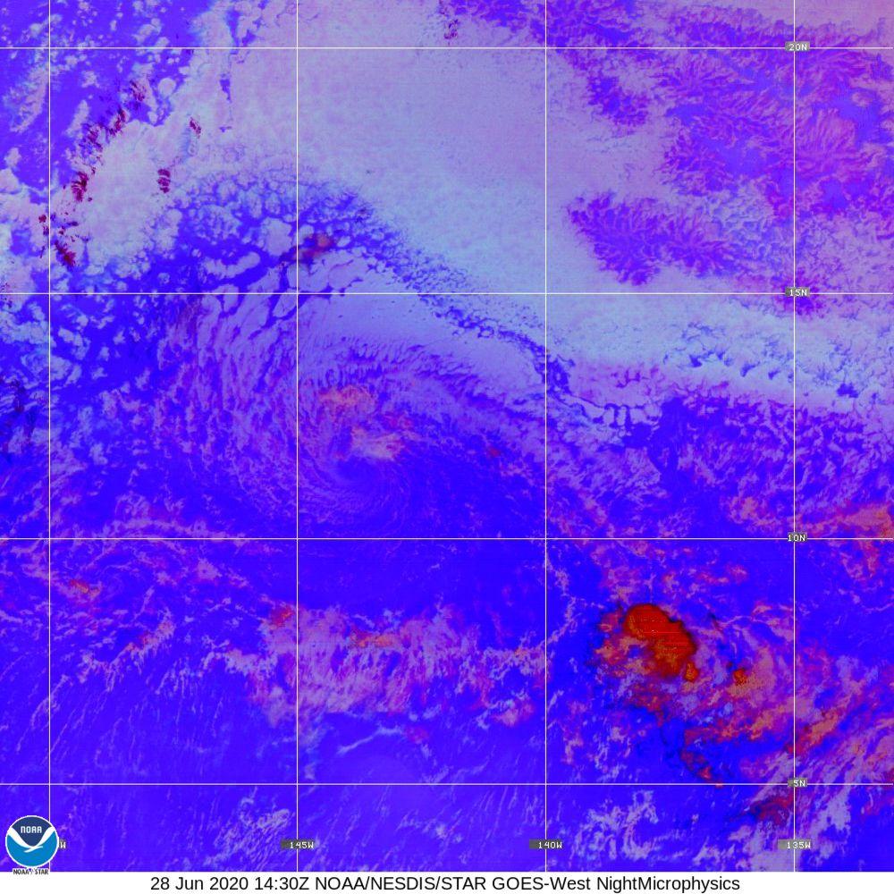 Nighttime Microphysics - RGB used to distinguish clouds from fog - 28 Jun 2020 - 1430 UTC