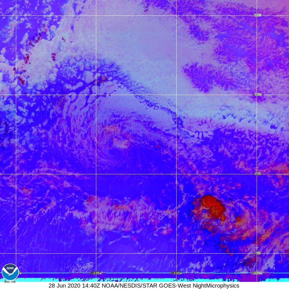 Nighttime Microphysics - RGB used to distinguish clouds from fog - 28 Jun 2020 - 1440 UTC