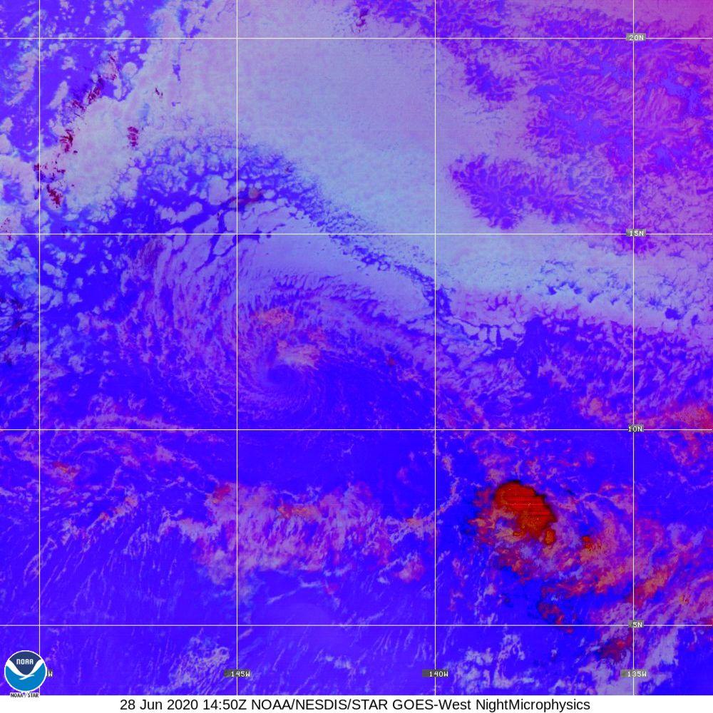 Nighttime Microphysics - RGB used to distinguish clouds from fog - 28 Jun 2020 - 1450 UTC