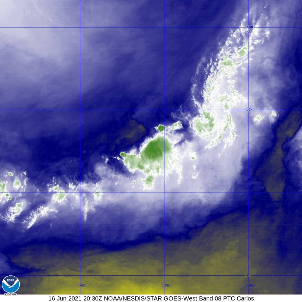 Band 8 - 6.2 µm - Upper-Level Water Vapor - IR  - 16 Jun 2021 - 2030 UTC