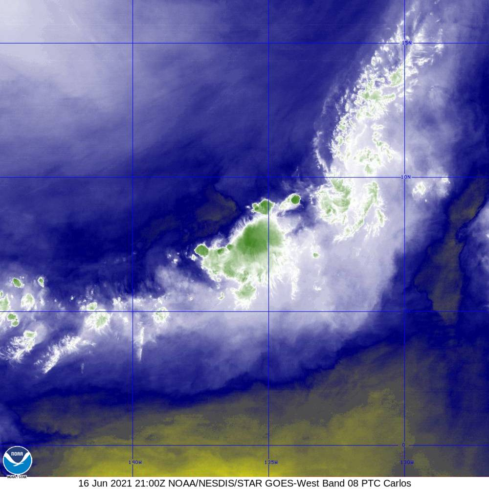 Band 8 - 6.2 µm - Upper-Level Water Vapor - IR  - 16 Jun 2021 - 2100 UTC