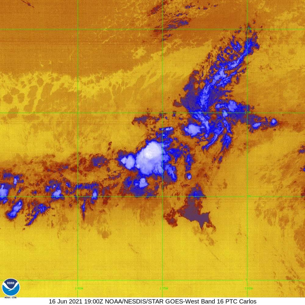 Band 16 - 13.3 µm - CO₂ Longwave - IR - 16 Jun 2021 - 1900 UTC