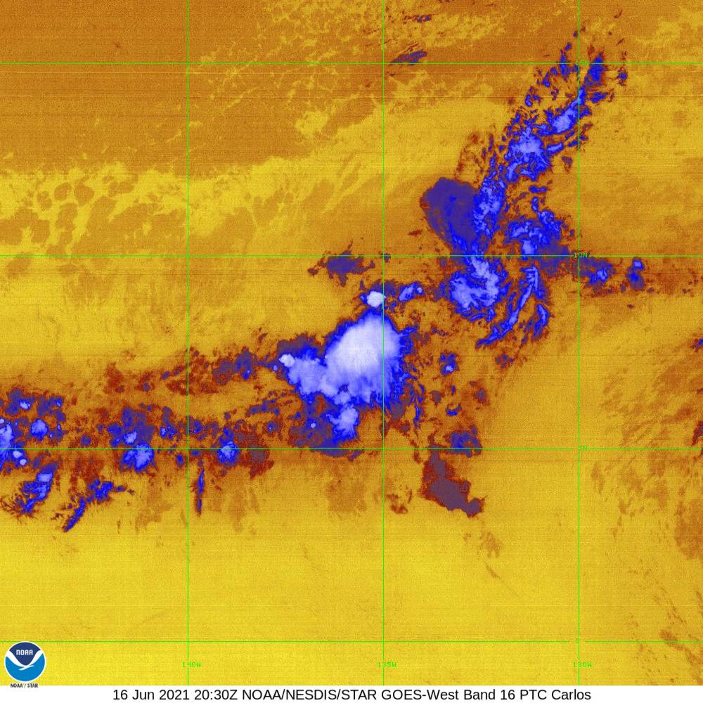 Band 16 - 13.3 µm - CO₂ Longwave - IR - 16 Jun 2021 - 2030 UTC