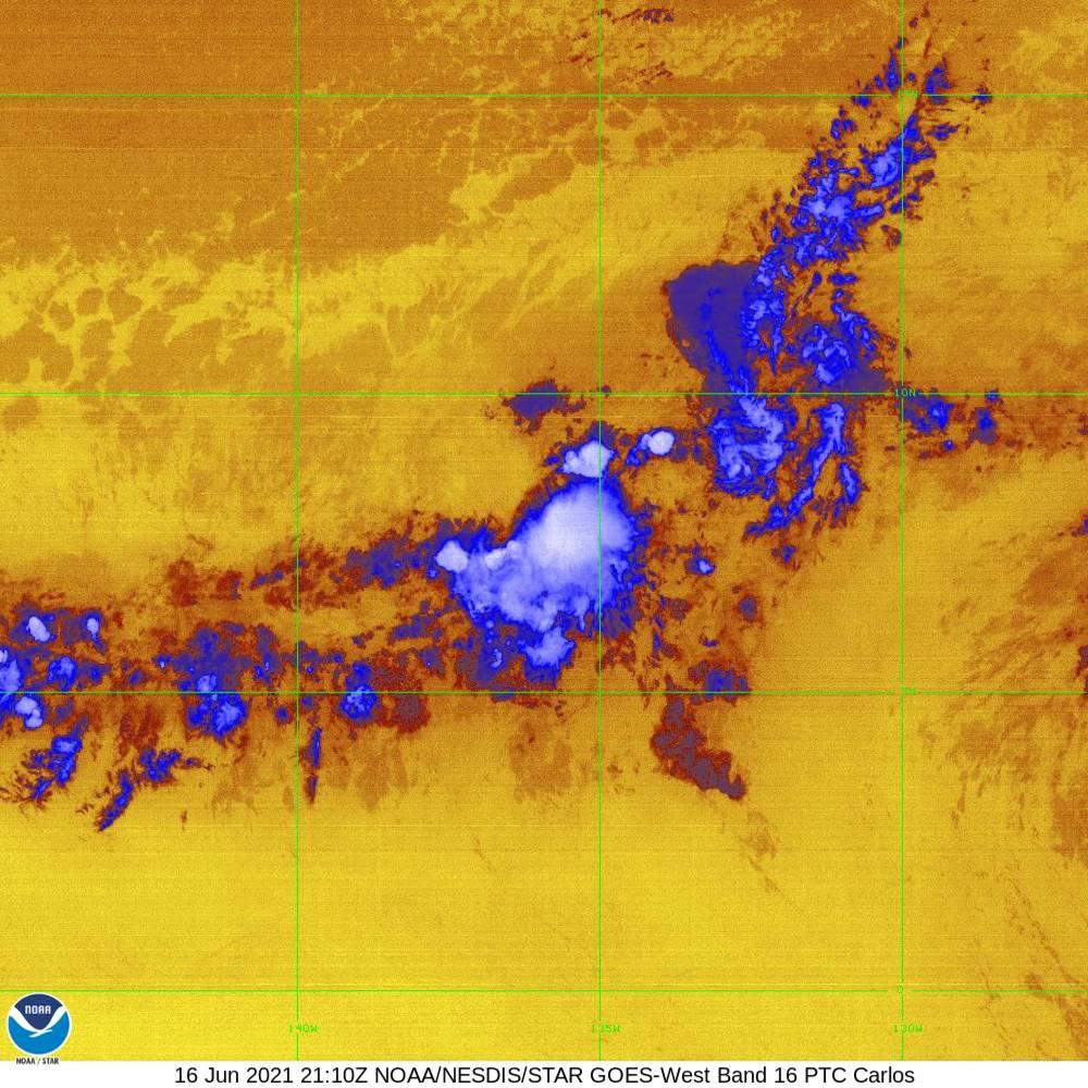 Band 16 - 13.3 µm - CO₂ Longwave - IR - 16 Jun 2021 - 2110 UTC