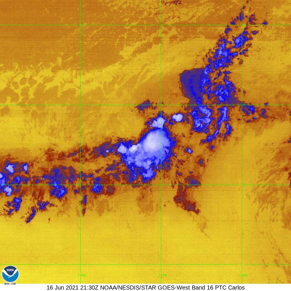 Band 16 - 13.3 µm - CO₂ Longwave - IR - 16 Jun 2021 - 2130 UTC