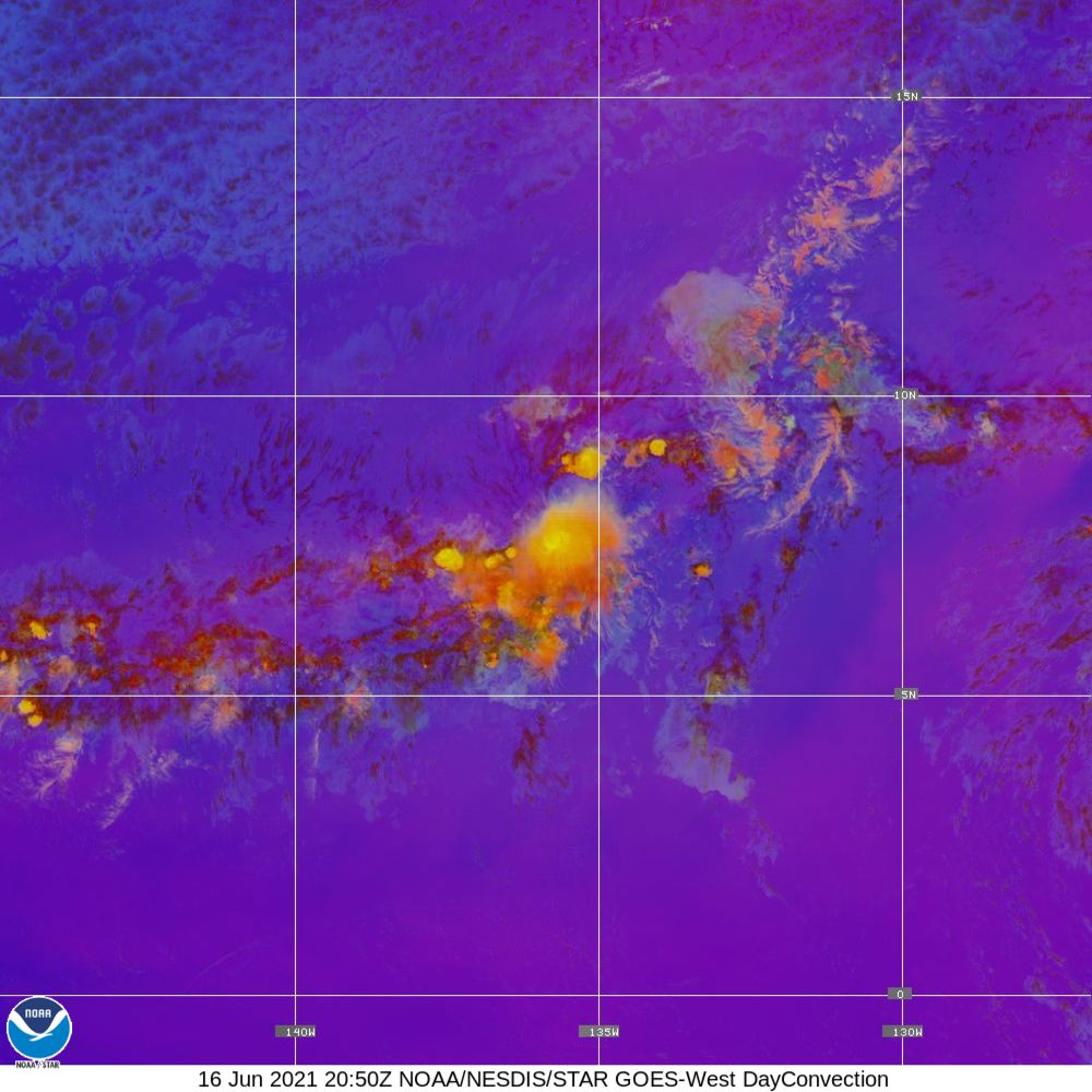 Day Convection - RGB used to identify areas of rapid intensification - 16 Jun 2021 - 2050 UTC