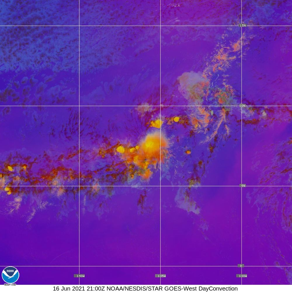 Day Convection - RGB used to identify areas of rapid intensification - 16 Jun 2021 - 2100 UTC