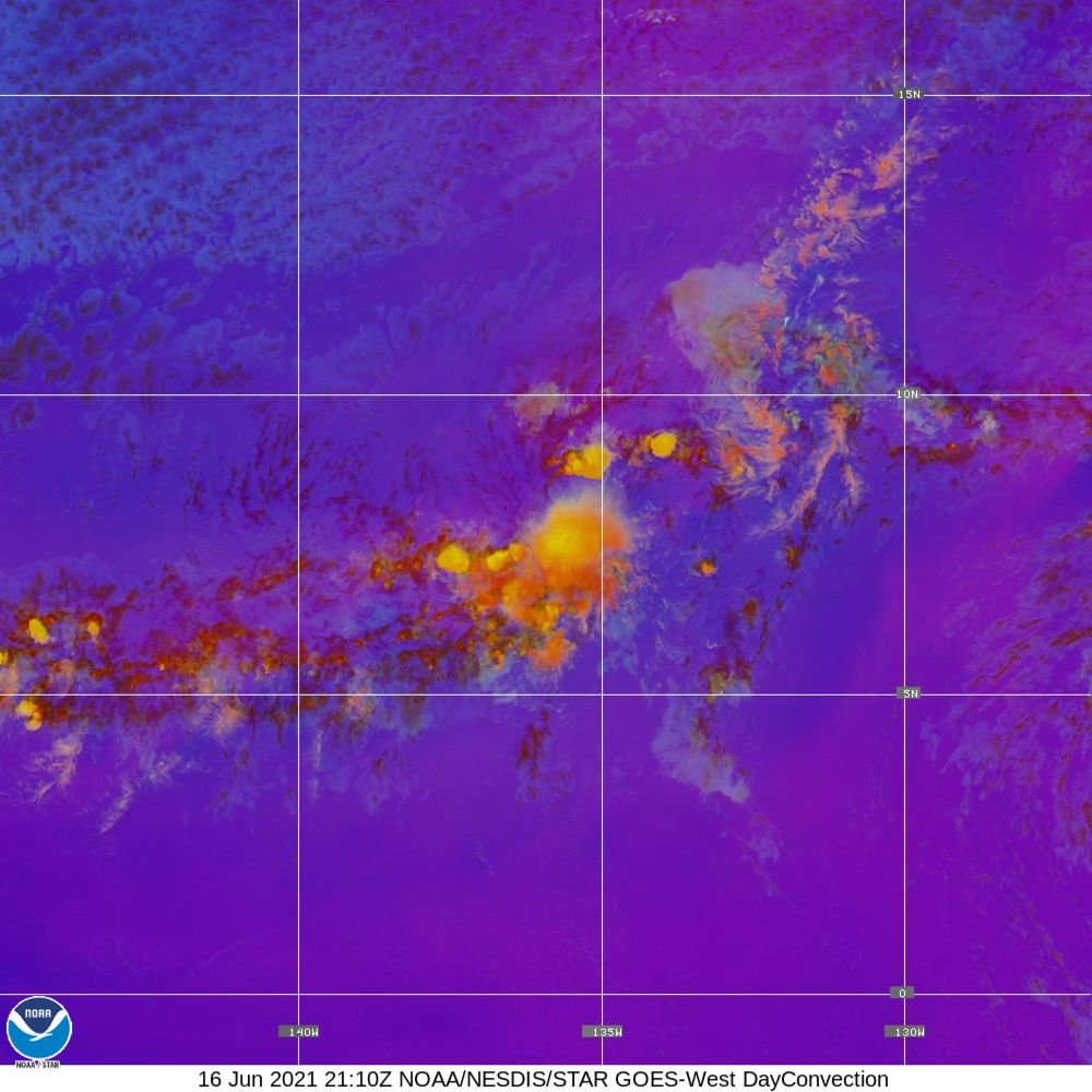 Day Convection - RGB used to identify areas of rapid intensification - 16 Jun 2021 - 2110 UTC