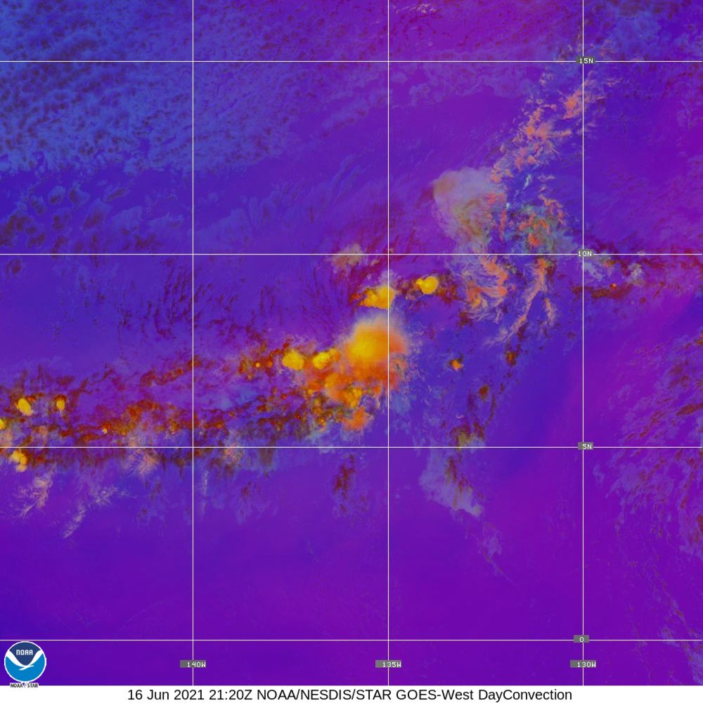 Day Convection - RGB used to identify areas of rapid intensification - 16 Jun 2021 - 2120 UTC