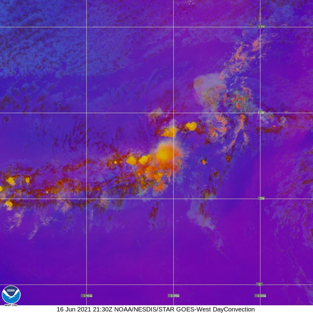 Day Convection - RGB used to identify areas of rapid intensification - 16 Jun 2021 - 2130 UTC