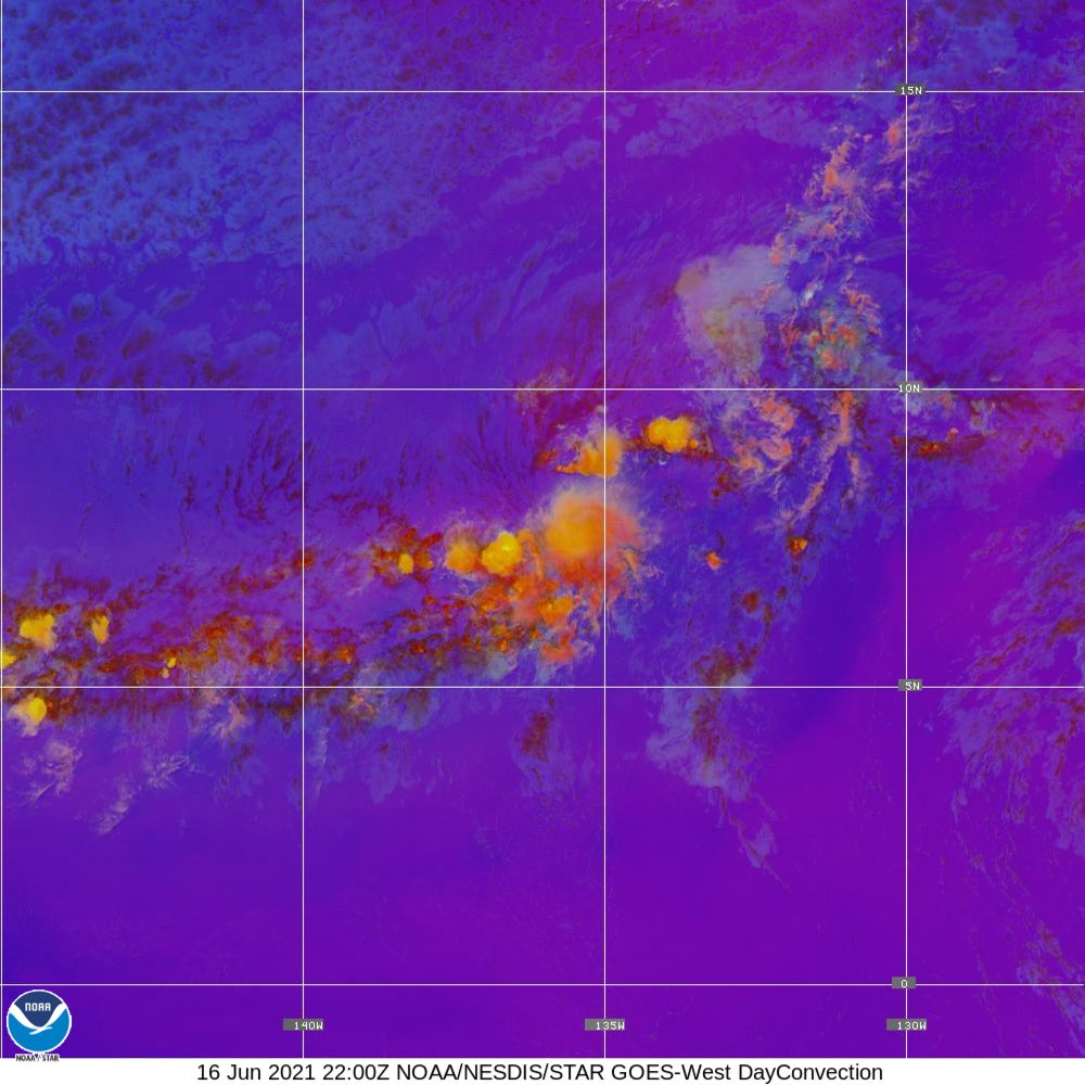 Day Convection - RGB used to identify areas of rapid intensification - 16 Jun 2021 - 2200 UTC