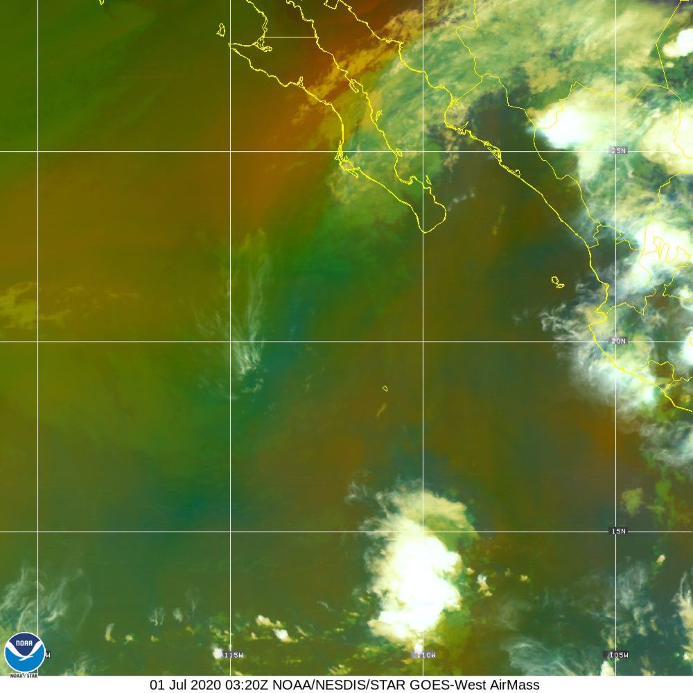 Air Mass - RGB composite based on the data from IR and WV - 01 Jul 2020 - 0320 UTC