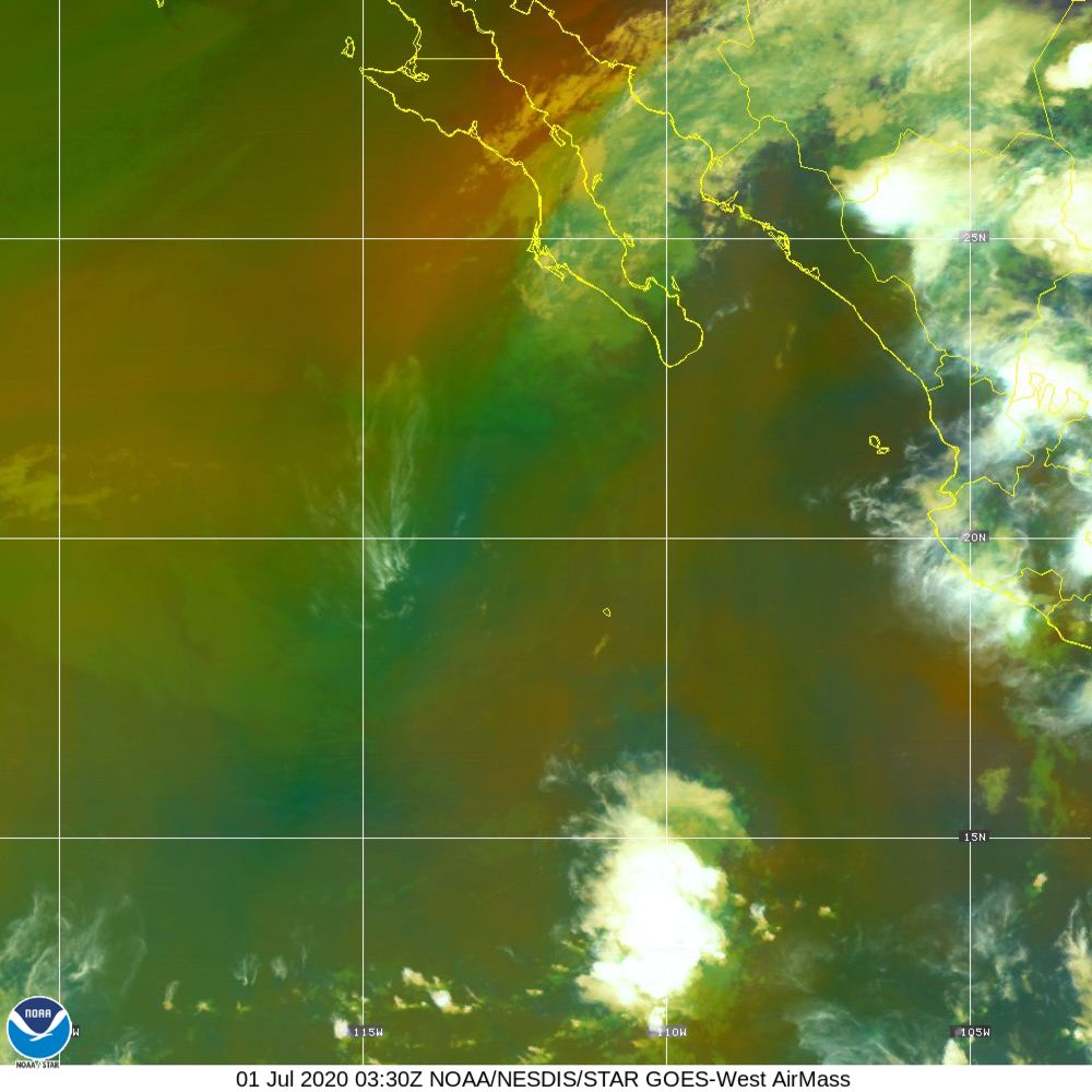 Air Mass - RGB composite based on the data from IR and WV - 01 Jul 2020 - 0330 UTC
