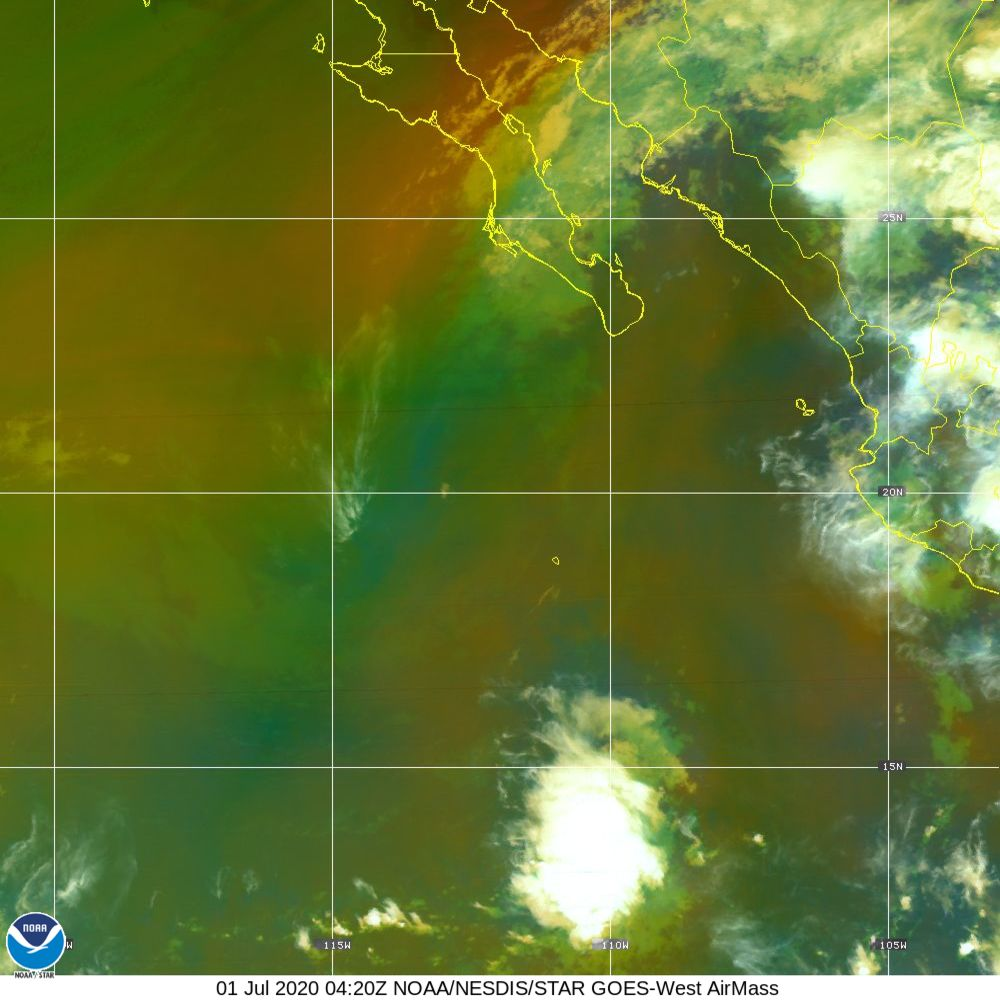 Air Mass - RGB composite based on the data from IR and WV - 01 Jul 2020 - 0420 UTC