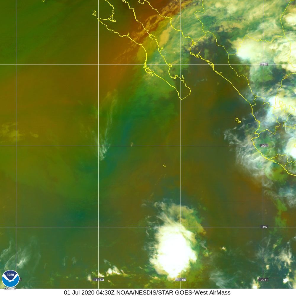 Air Mass - RGB composite based on the data from IR and WV - 01 Jul 2020 - 0430 UTC
