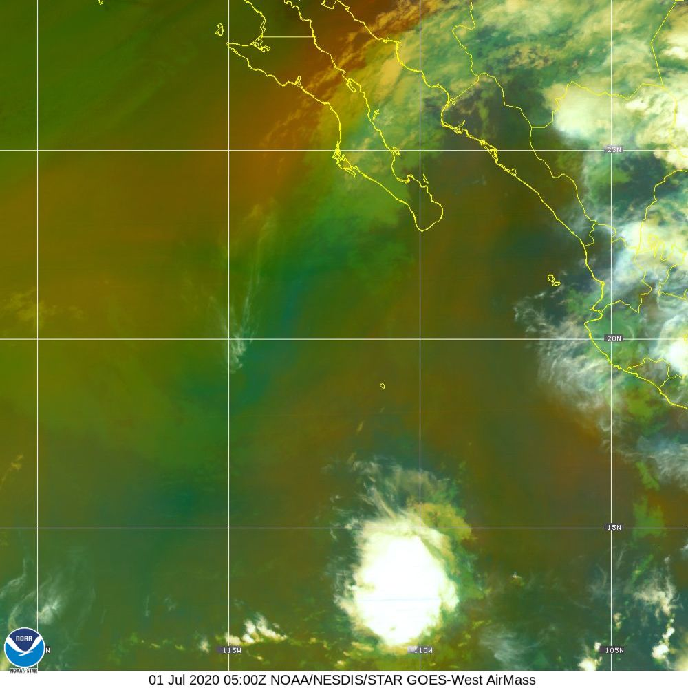 Air Mass - RGB composite based on the data from IR and WV - 01 Jul 2020 - 0500 UTC