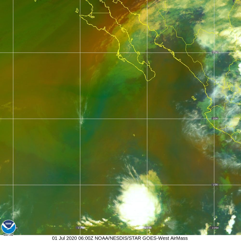 Air Mass - RGB composite based on the data from IR and WV - 01 Jul 2020 - 0600 UTC