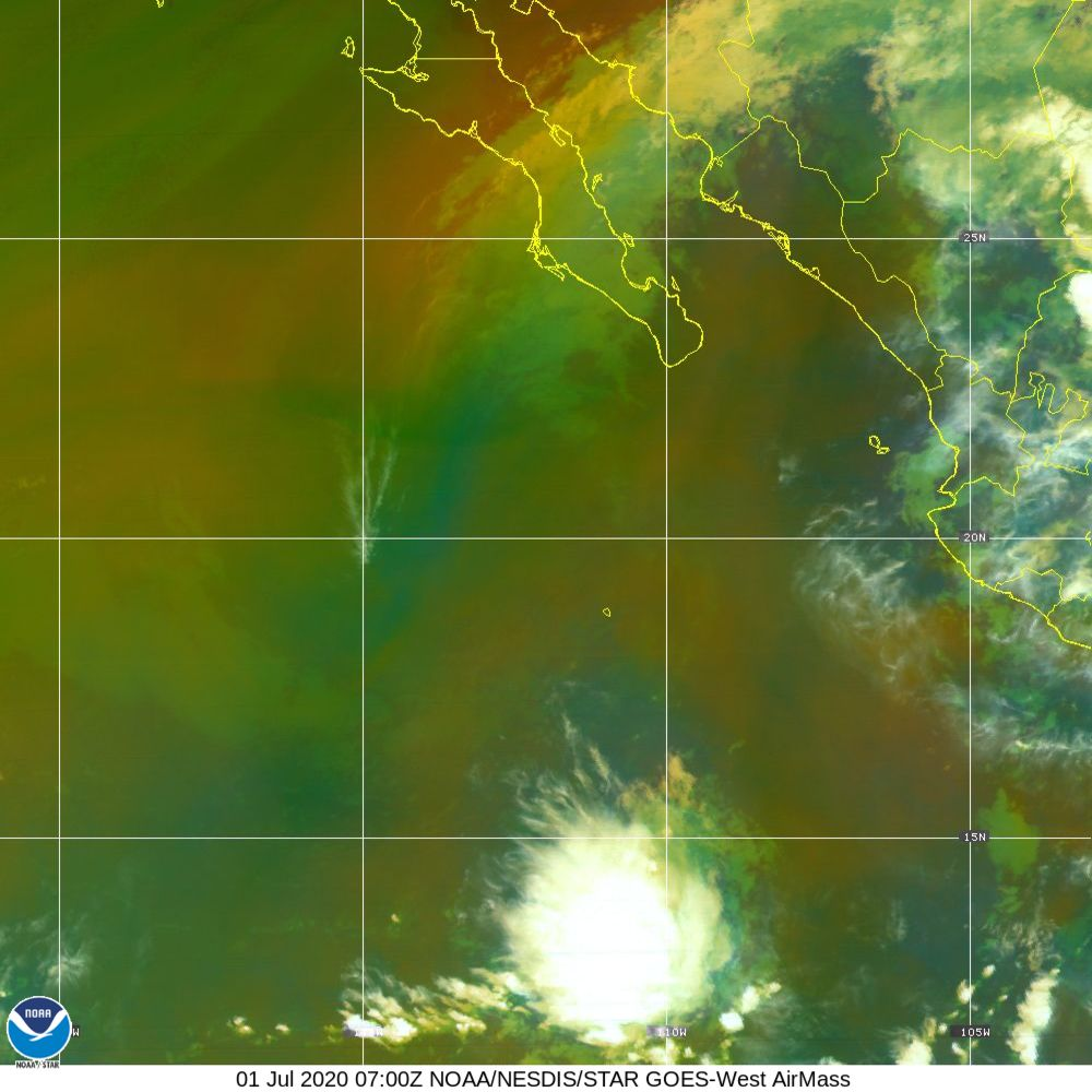 Air Mass - RGB composite based on the data from IR and WV - 01 Jul 2020 - 0700 UTC
