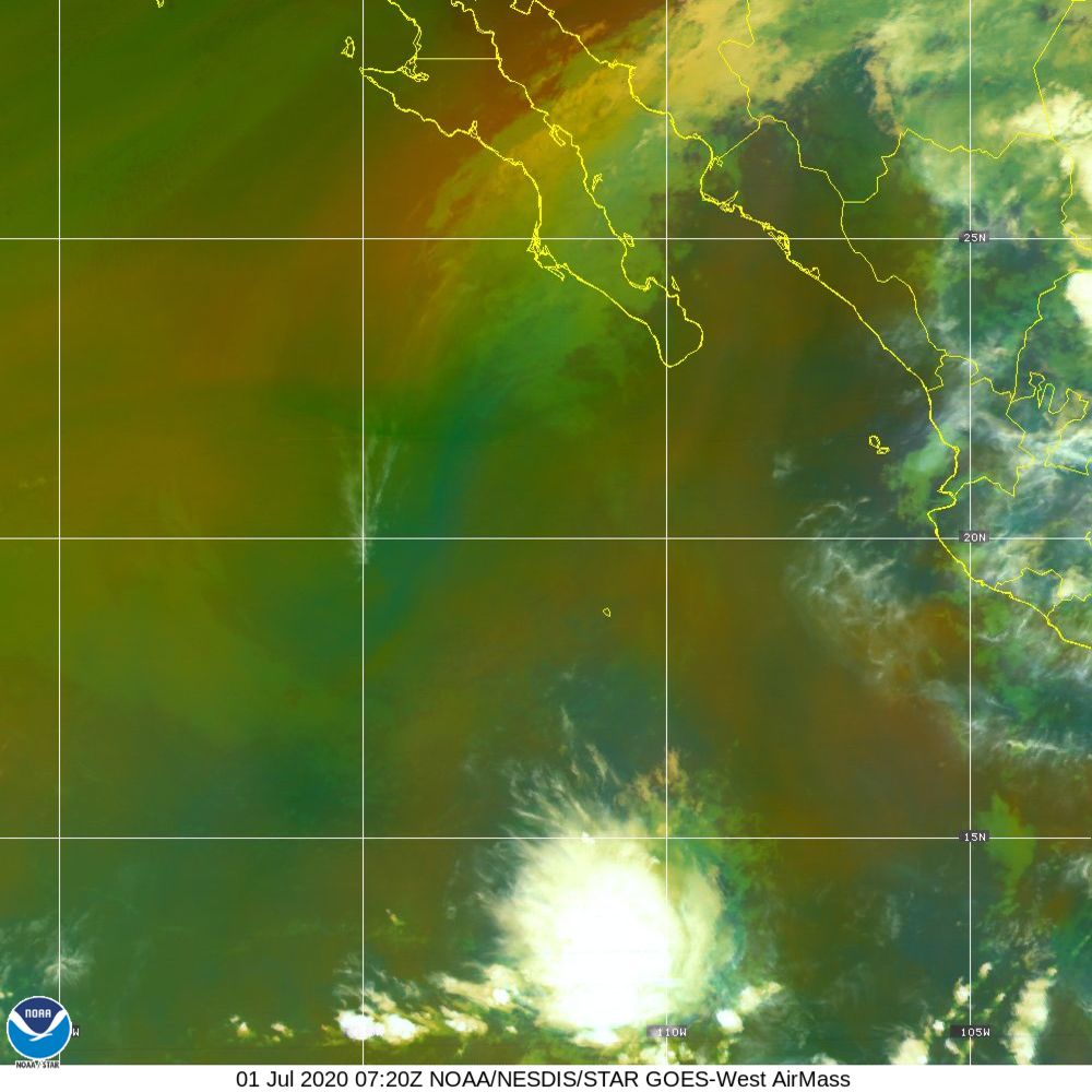 Air Mass - RGB composite based on the data from IR and WV - 01 Jul 2020 - 0720 UTC