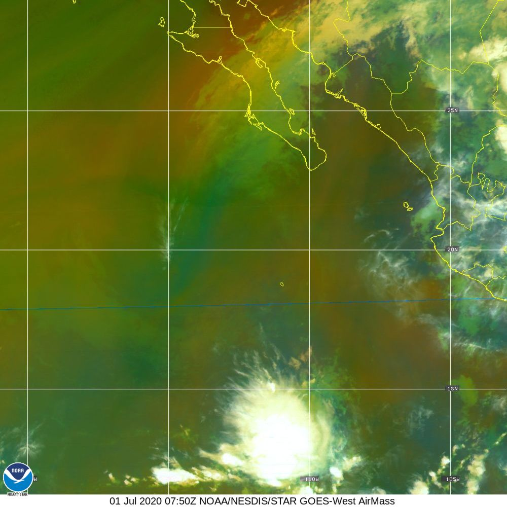 Air Mass - RGB composite based on the data from IR and WV - 01 Jul 2020 - 0750 UTC