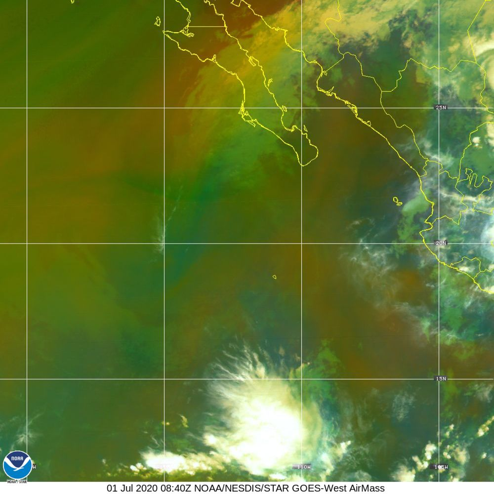 Air Mass - RGB composite based on the data from IR and WV - 01 Jul 2020 - 0840 UTC