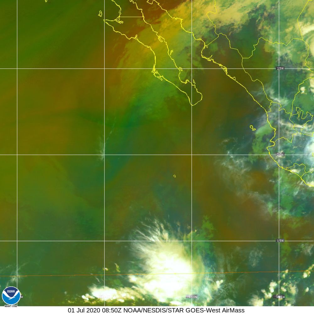 Air Mass - RGB composite based on the data from IR and WV - 01 Jul 2020 - 0850 UTC