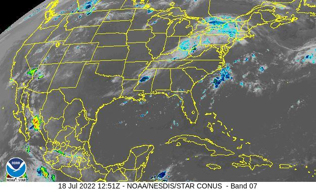 GOES-16 CONUS Short Wave Satellite Image from STAR