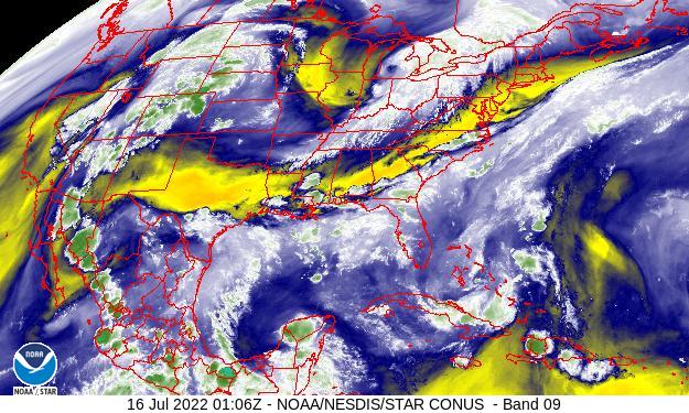 US Water Vapor Satellite Image