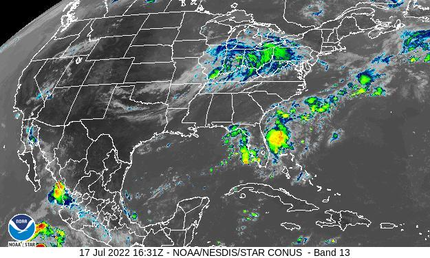 GOES-16 CONUS Infrared Satellite Image from STAR