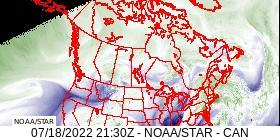 Canada Water Vapor IR Band 8 Satellite