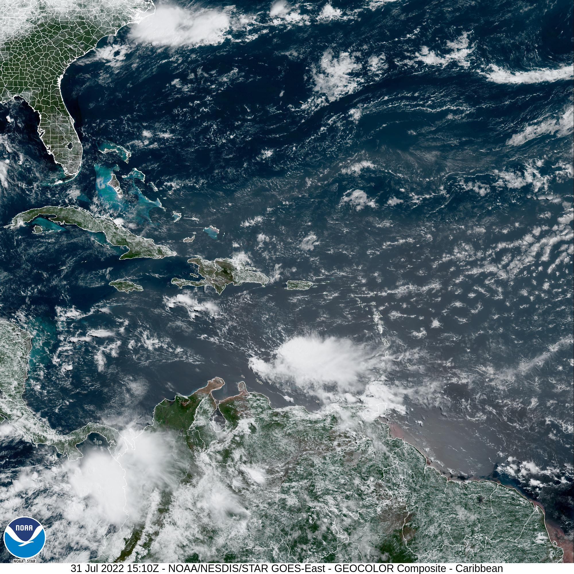 Latest GOES-East Satellite image of the region
