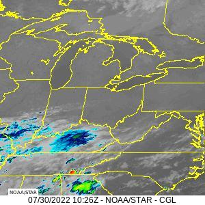 Infrared satellite image of the Great Lakes and southern Appalachan region