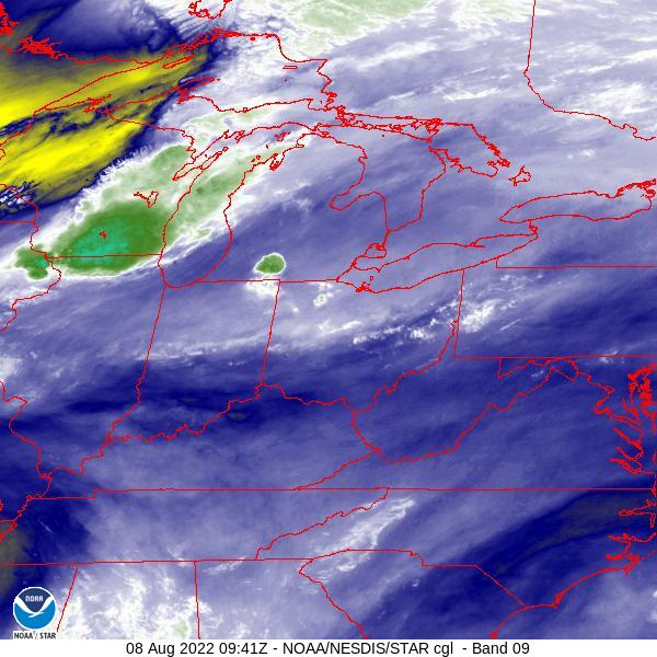 Ohio Valley Water Vapor Satellite Image