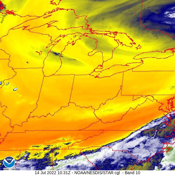 Regional Water Vapor Satellite Image