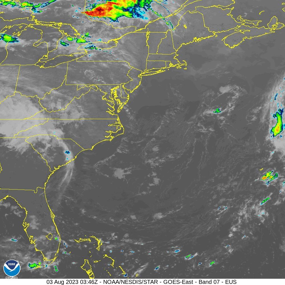 GOES-16 U.S. Atlantic Coast Short Wave Satellite Image from STAR