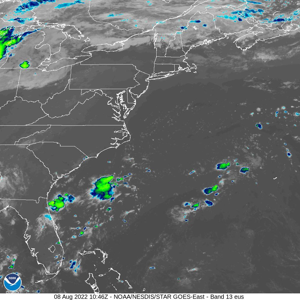 GOES-16 U.S. Atlantic Coast Infrared Satellite Image from STAR
