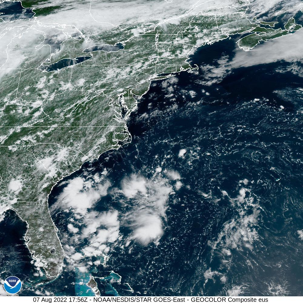GOES-16 U.S. Atlantic Coast GeoColor Satellite Image from STAR