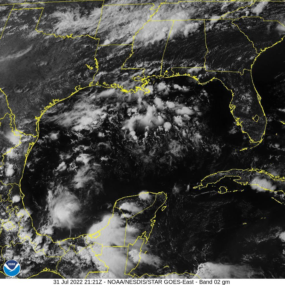 GOES-16 Gulf Of Mexico Visible Satellite Image from STAR