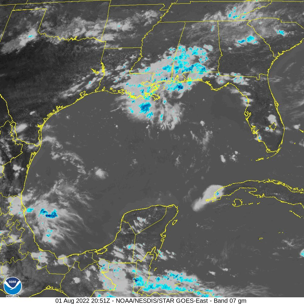 GOES-16 Gulf Of Mexico Short Wave Satellite Image from STAR