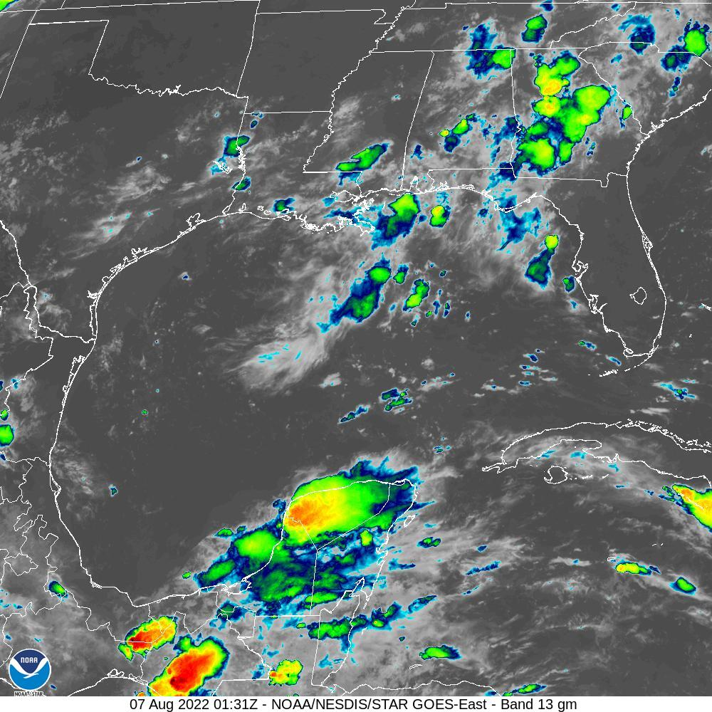 GOES-16 Gulf Of Mexico Infrared Satellite Image from STAR