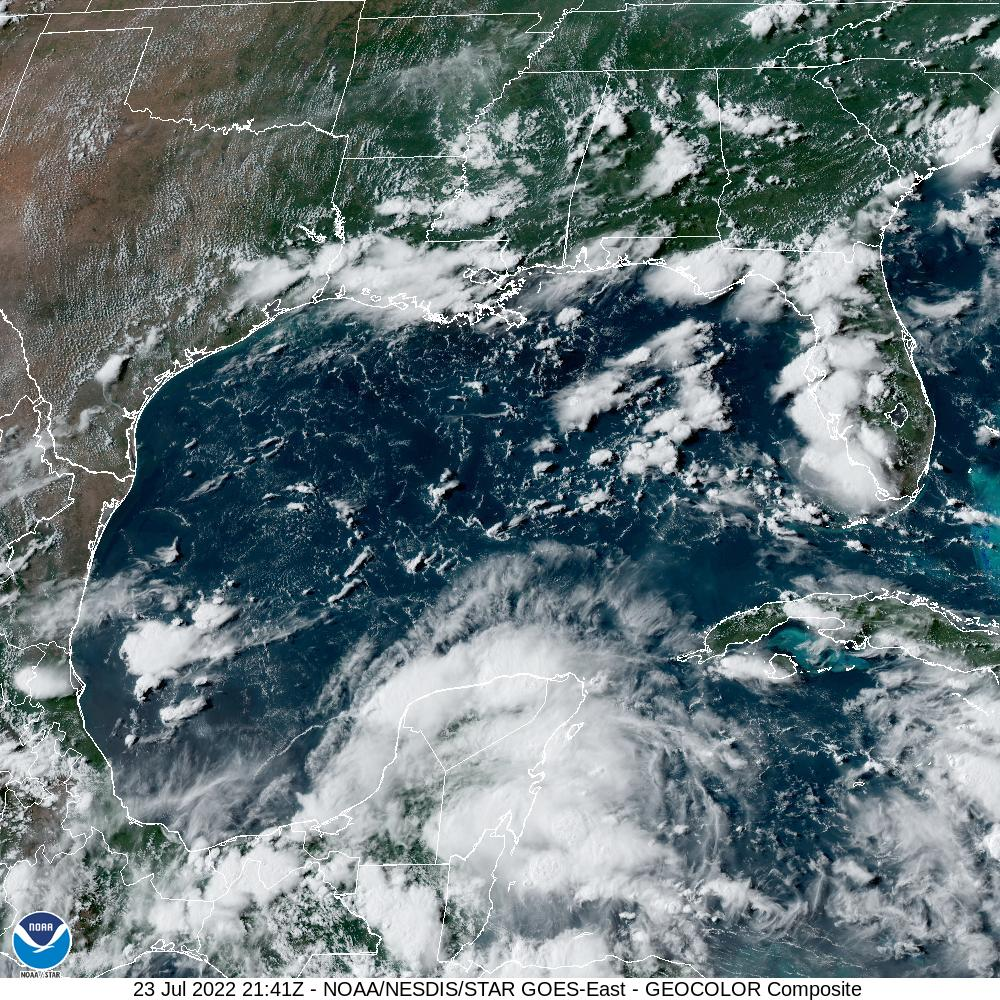 GOES-16 Gulf Of Mexico GeoColor Satellite Image from STAR