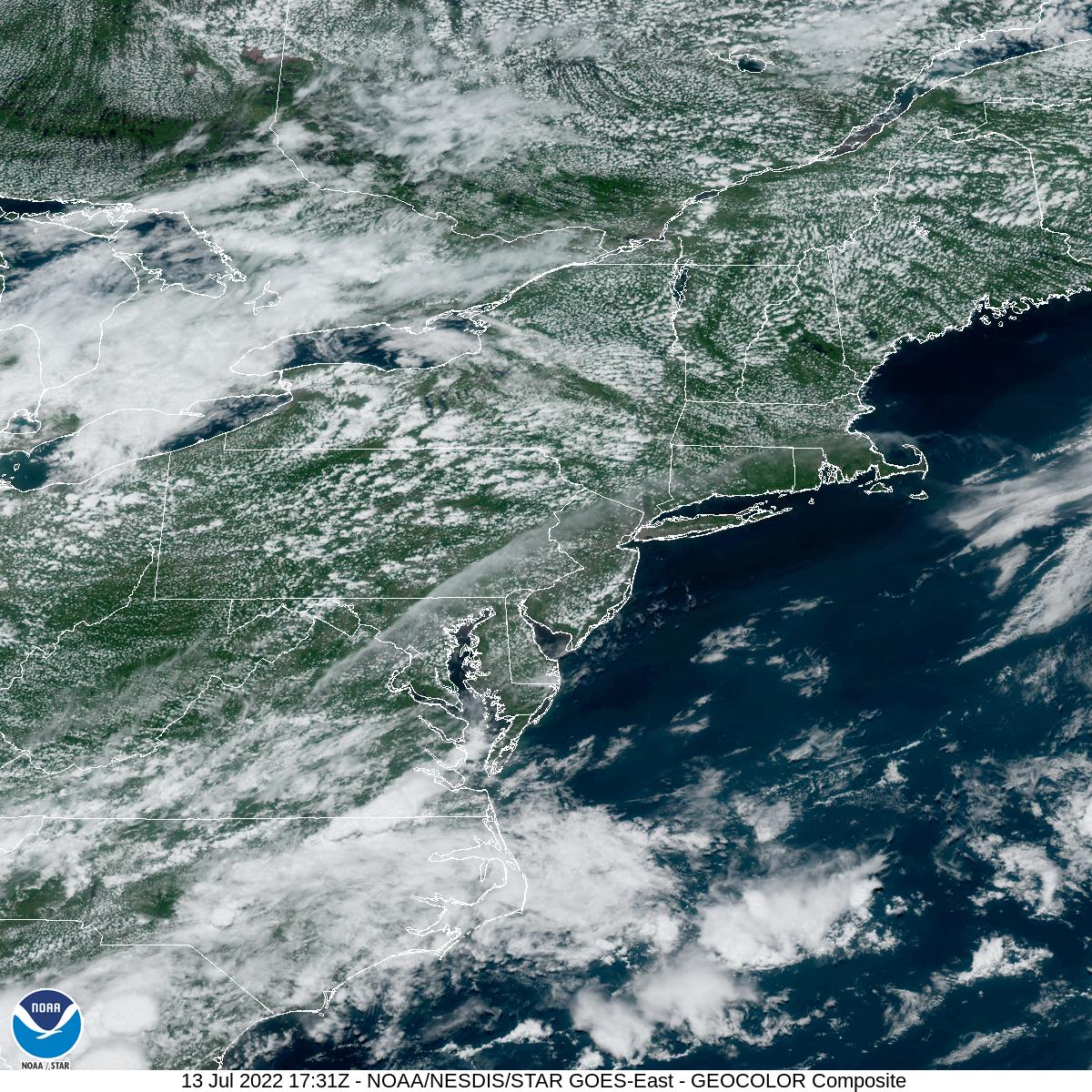 Latest GOES-16 Geocolor Image of Northeast sector