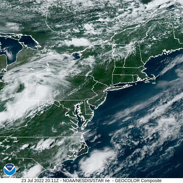 GOES-16 Northeast GeoColor Satellite Image from STAR
