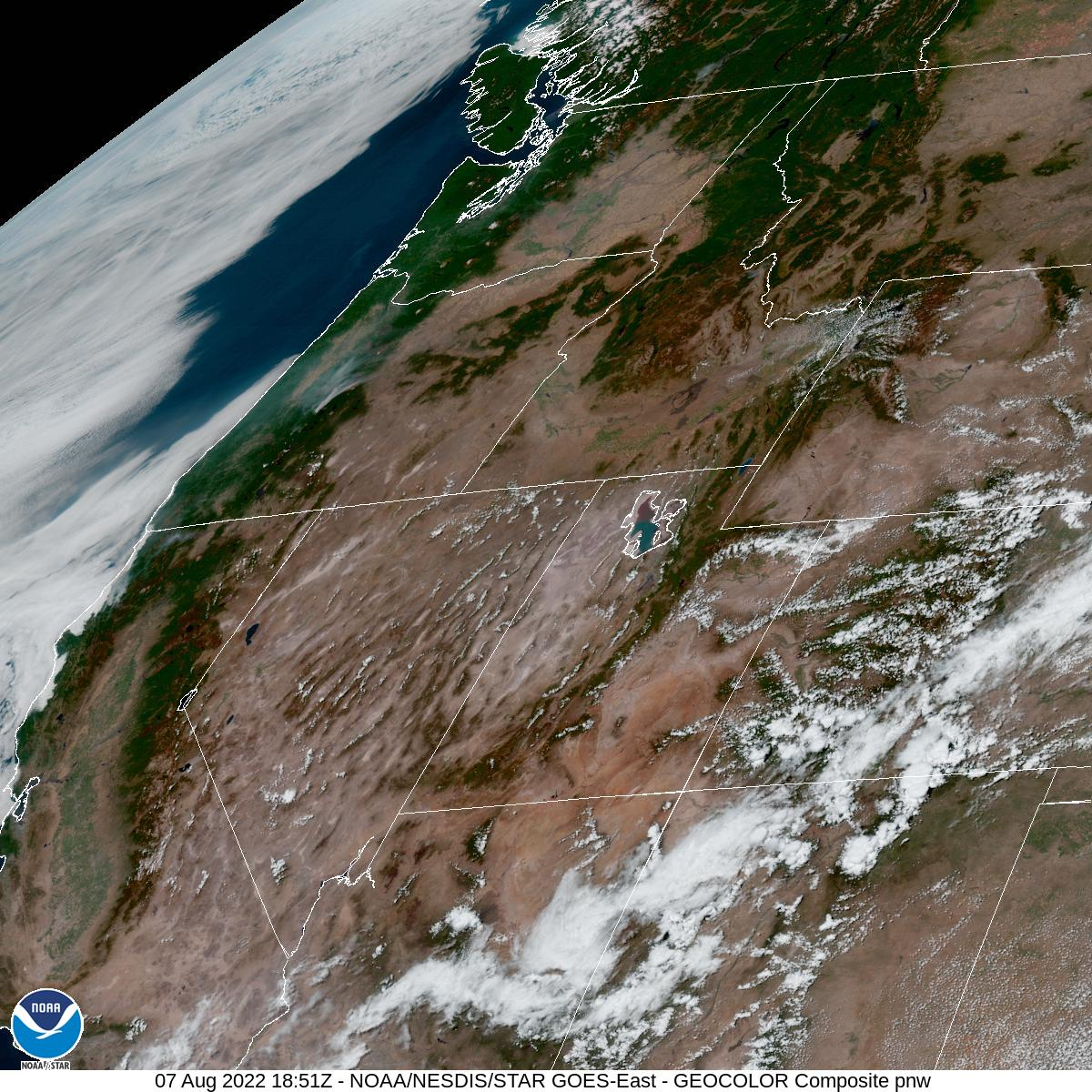 Latest GOES-16 Geocolor Image of Pacific Northwest sector