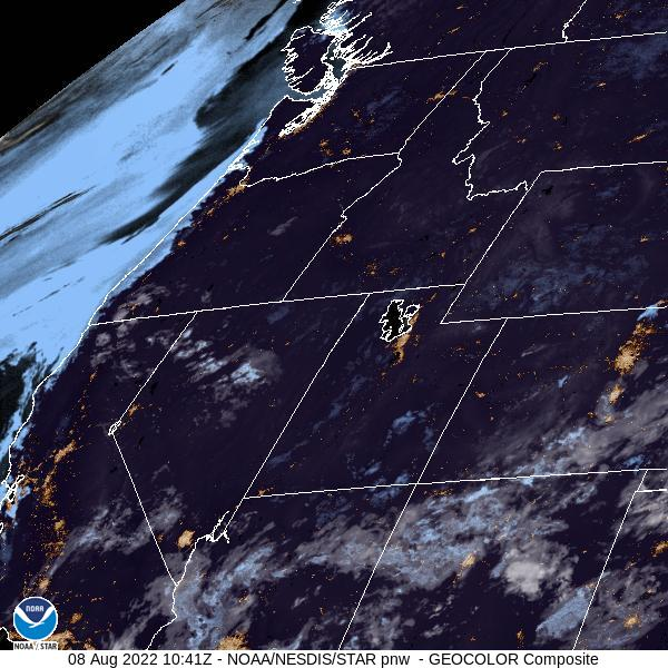 GOES-16 Pacific Northwest GeoColor Satellite Image from STAR