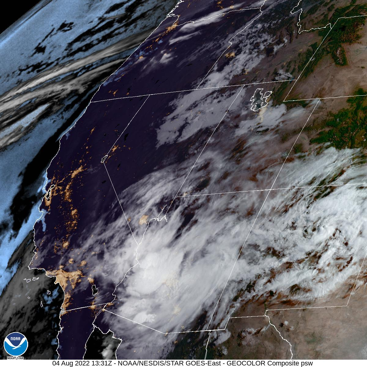 Latest GOES-16 Geocolor Image of Pacific Southwest sector