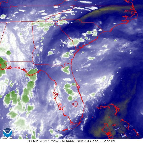 Latest Mid-Level Water Vapor Satellite Image - Click to Enlarge