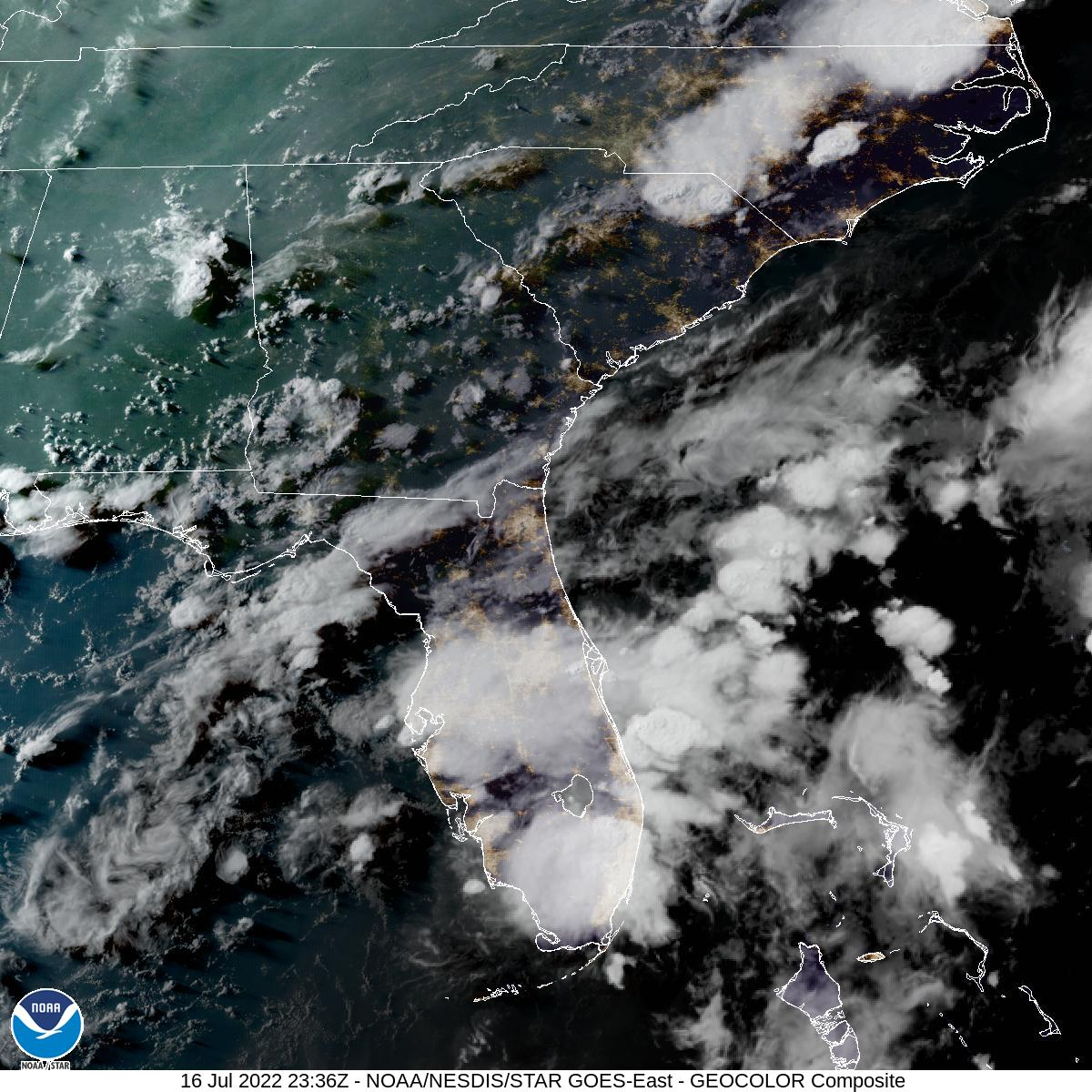 Latest GOES-16 Geocolor Image of Southeast sector