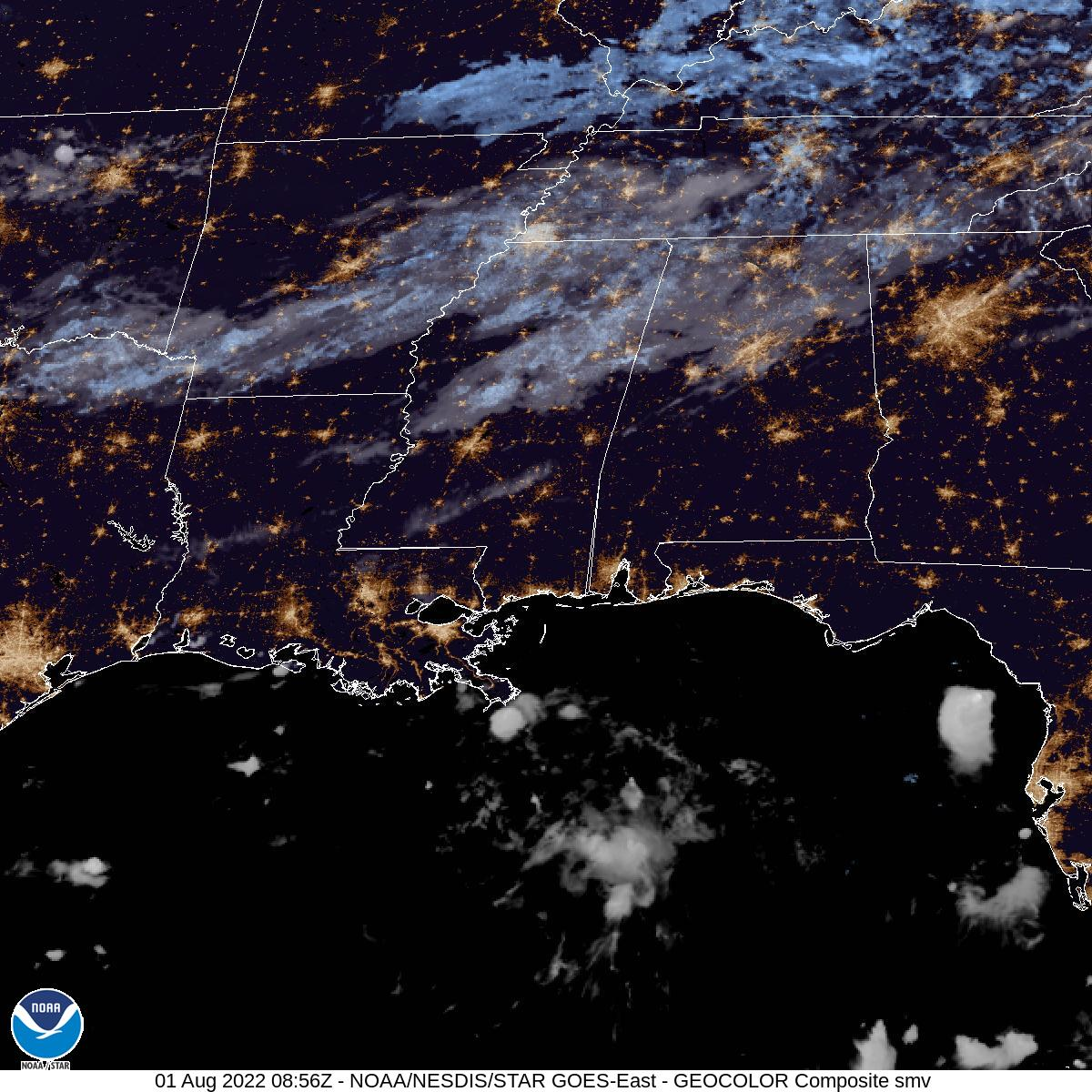 Latest GOES-16 Geocolor Image of Southern Mississippi Valley sector