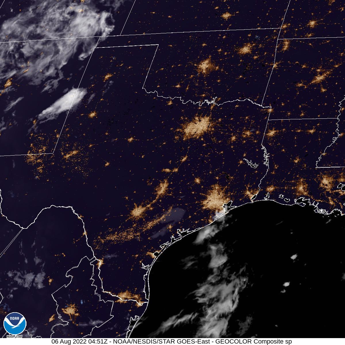 Latest GOES-16 Geocolor Image of Southern Plains sector